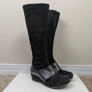 Camper Tall Suede Wedge Boots Black 37
